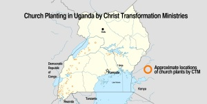 Map Church plants Uganda