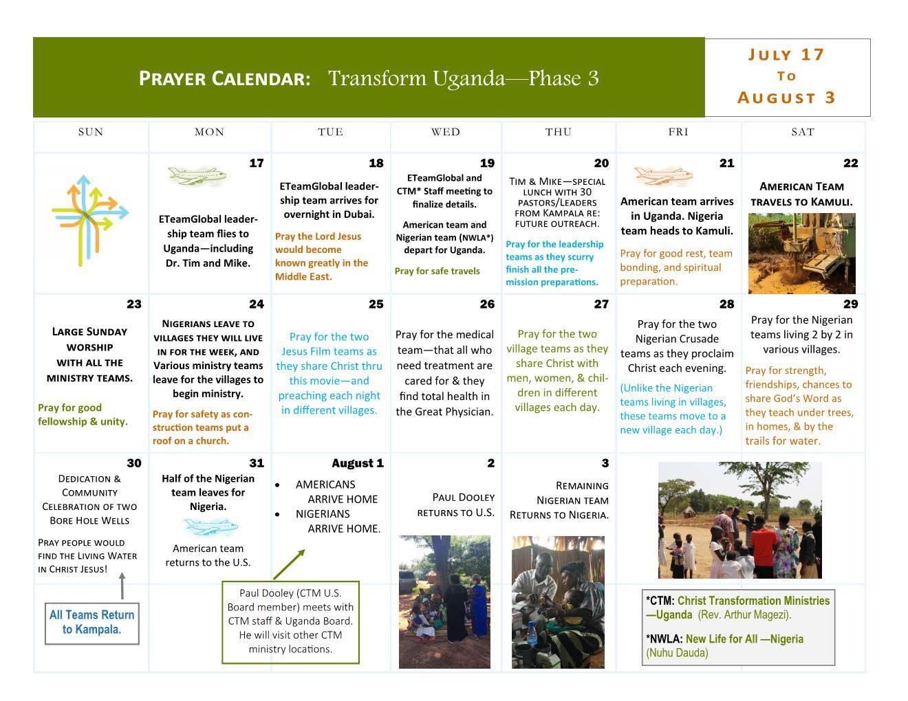 Calendar Uganda : Prayer calendar for transform uganda iii christ